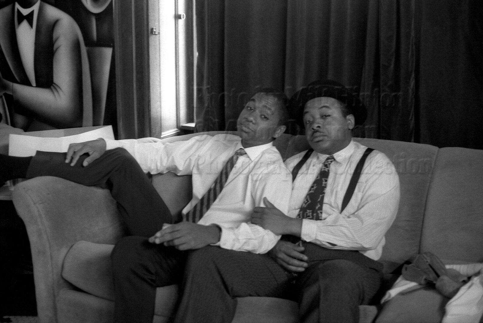 "Photo by Milt Hinton<br> © Milton J. Hinton<br> Photographic Collection <br><b class=""captionn"">Branford Marsalis and Jeff ""Tain"" Watts, NYC 1988</b>"
