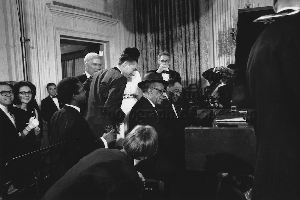 "Photo by Milt Hinton<br> © Milton J. Hinton<br> Photographic Collection <br> <b class=""captionn"">Willie ""The Lion"" Smith and Duke Ellington at the piano, Duke's 70th birthday party, The White House, Washington, D.C., 1969</b>"