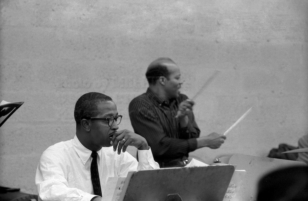 "Photo by Milt Hinton<br> © Milton J. Hinton<br>Photographic Collection <br><b class=""captionn"">Freddie Green and Jo Jones, television studio (Sound of Jazz rehearsal), New York City, 1957</b>"