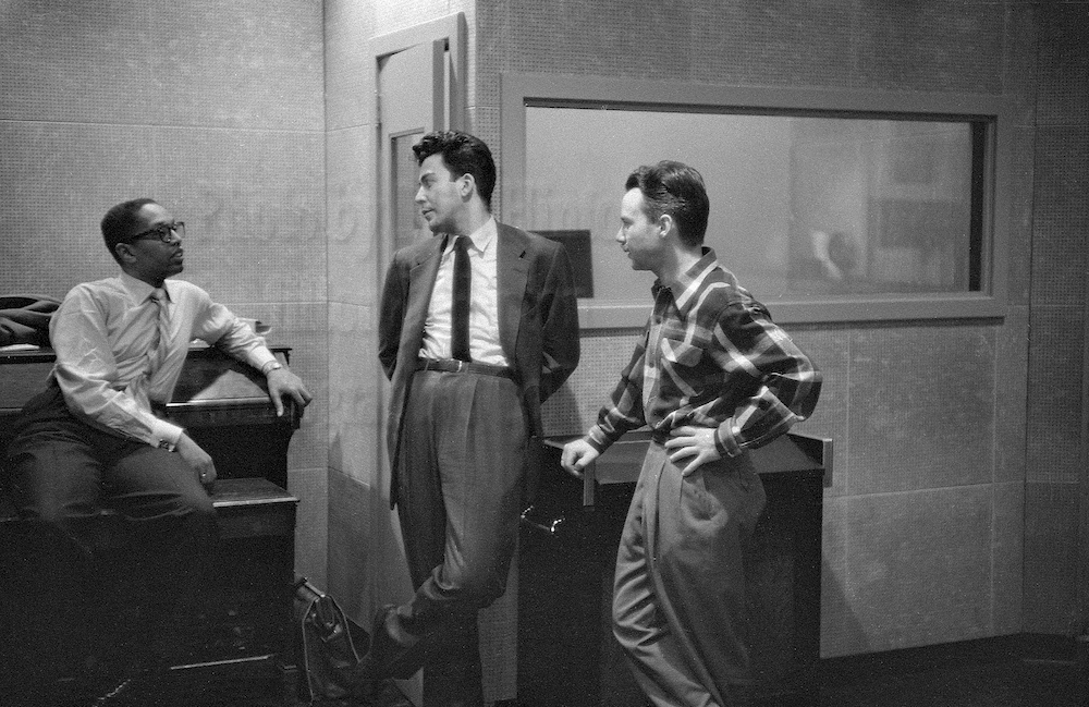 "Photo by Milt Hinton<br> © Milton J. Hinton<br>Photographic Collection <br><b class=""captionn"">Billy Taylor, Nat Hentoff and Eddie Bert, recording studio, New York City, c. 1954</b>"