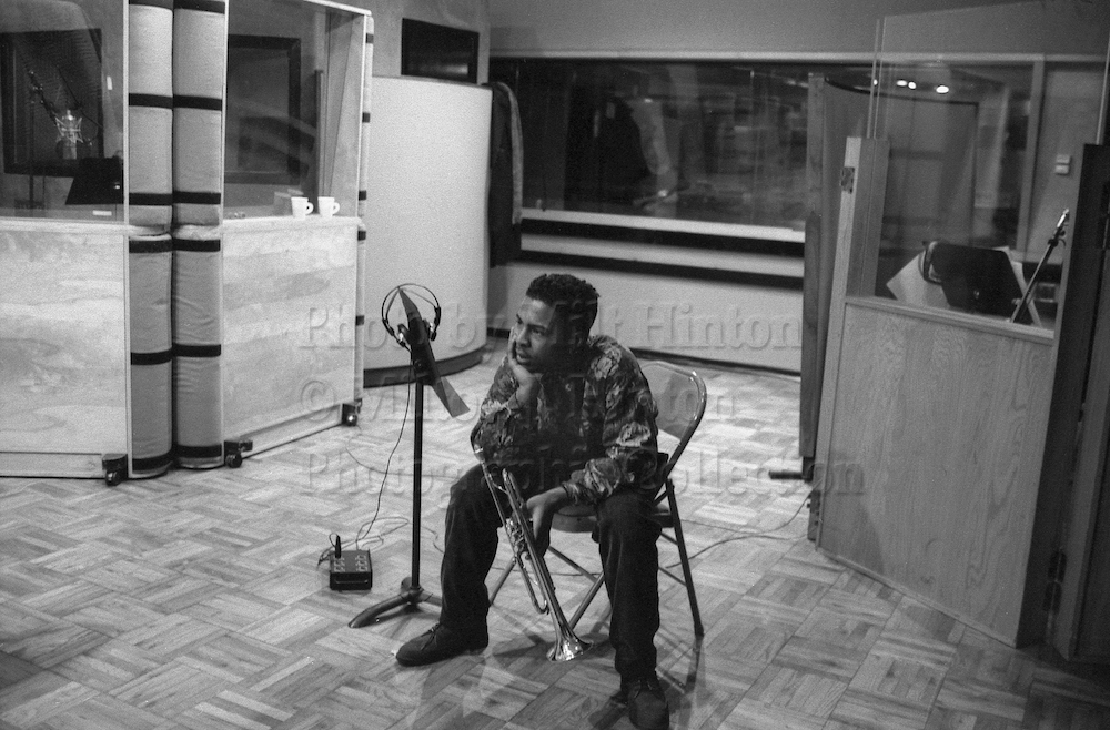 "Photo by Milt Hinton<br> © Milton J. Hinton<br> Photographic Collection <br> <b class=""captionn"">Roy Hargrove, recording studio, New York City, 1991</b>"