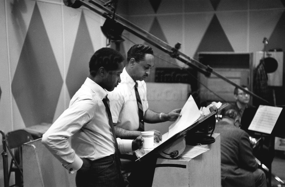 "Photo by Milt Hinton<br> © Milton J. Hinton<br>Photographic Collection <br><b class=""captionn"">Sam Cooke and Ernie Wilkins, recording studio, New York City, 1960</b>"