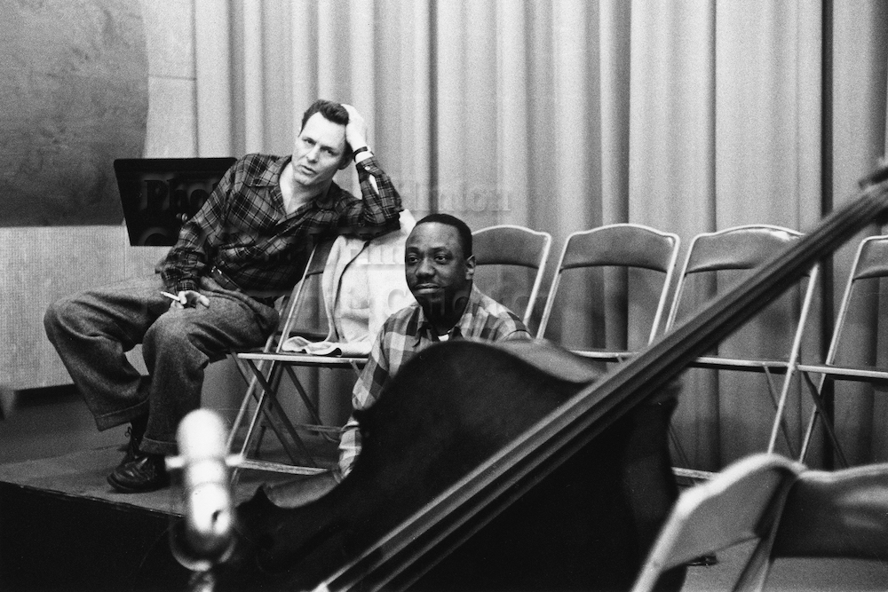 "Photo by Milt Hinton<br> © Milton J. Hinton<br>Photographic Collection <br><b class=""captionn"">Barry Galbraith and Osie Johnson, recording studio, New York City, c. 1956</b>"