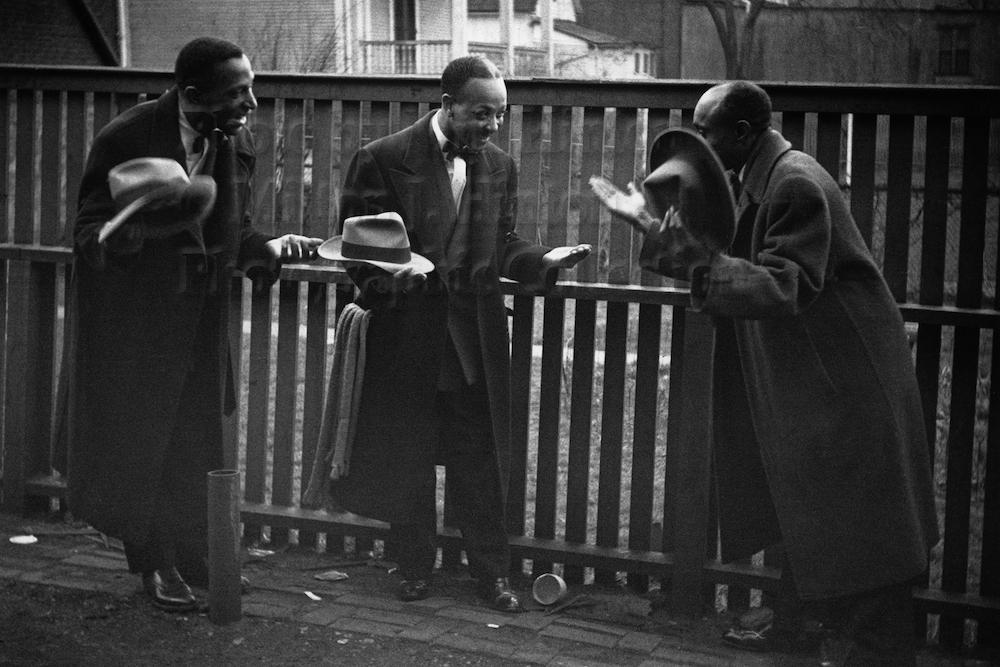 "Photo by Milt Hinton<br> © Milton J. Hinton<br>Photographic Collection <br><b class=""captionn""> Cozy Cole, Danny Barker, and Shad Collins, New Orleans, c. 1941</b>"
