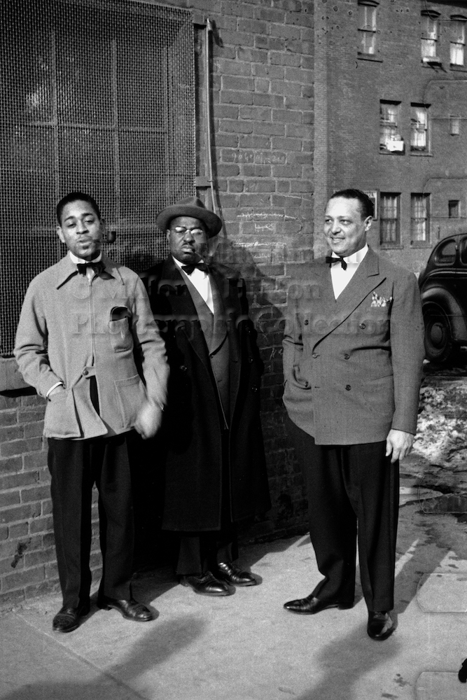 "Photo by Milt Hinton<br> © Milton J. Hinton<br> Photographic Collection <br><b class=""captionn"">Dizzy Gillespie, Chu Berry and Quentin ""Butter"" Jackson, Fox Theater, Detroit, c. 1940</b>"
