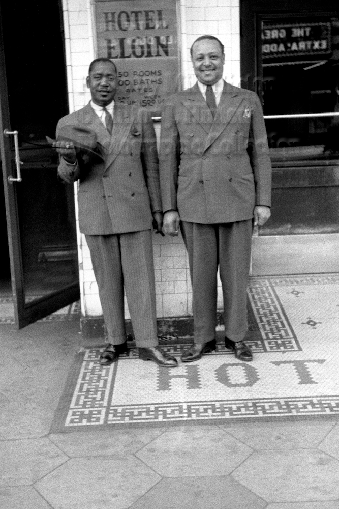 "Photo by Milt Hinton<br> © Milton J. Hinton<br>Photographic Collection <br><b class=""captionn""> Jonah Jones and Butter Jackson, Hotel Elgin, Elgin, Illinois, c. 1942</b>"
