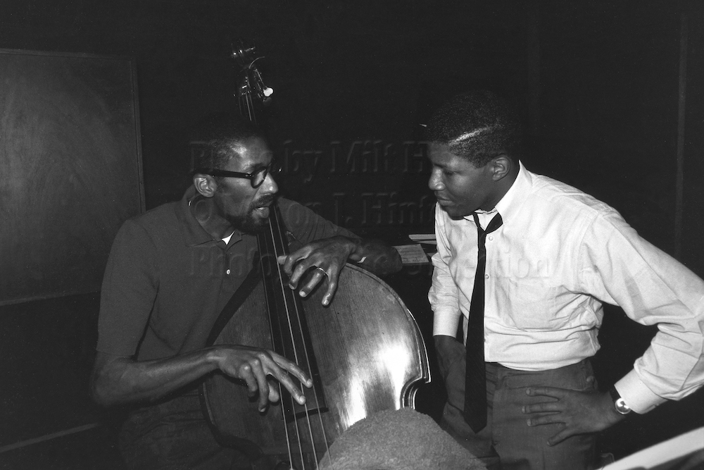 "Photo by Milt Hinton<br> © Milton J. Hinton<br> Photographic Collection <br> <b class=""captionn"">Ron Carter and Bob Cranshaw, recording studio, New York City, c. 1971</b>"