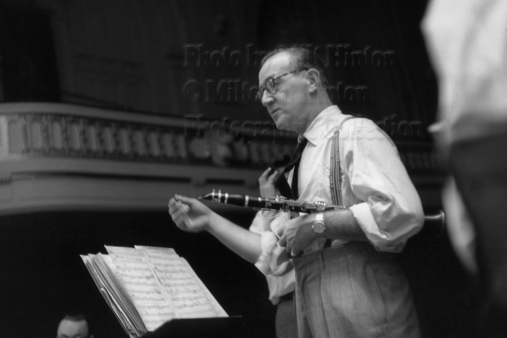 "Photo by Milt Hinton<br> © Milton J. Hinton<br>Photographic Collection <br><b class=""captionn"">Benny Goodman, concert rehearsal, New York City, c. 1956</b>"