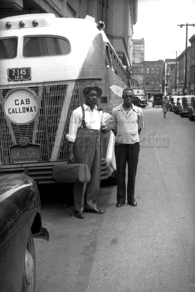 "Photo by Milt Hinton<br> © Milton J. Hinton<br>Photographic Collection <br><b class=""captionn""> Jonah Jones and ""Holmes"" (Cab's chauffeur), Little Rock, Arkansas, c. 1941</b>"