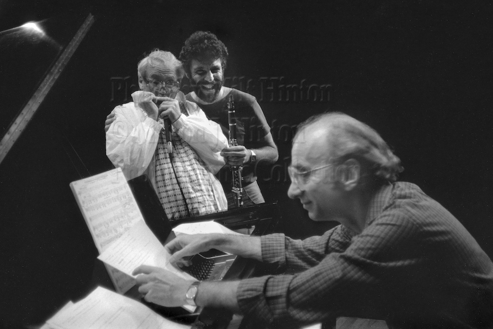 "Photo by Milt Hinton<br> © Milton J. Hinton<br> Photographic Collection <br> <b class=""captionn"">Toots Thielemans, Eddie Daniels, and Dick Hyman, concert rehearsal, New York City, c. 1986</b>"